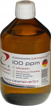 CleanSilver® - Sterilwasser mit Germanium (Ge 99,999%) 100ppm  500ml